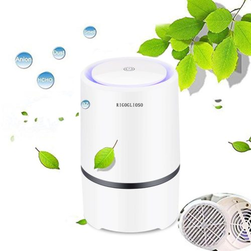 RIGOGLIOSO-purificateur d'air à faible bruit, nettoyeur d'air pour filtres HEPA, câble USB 5v, avec veilleuse GL2103
