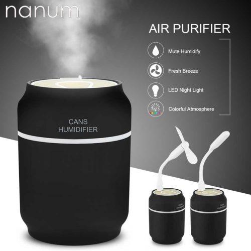 3 en 1 arôme diffuseur d'huile essentielle ultrasons canettes humidificateur purificateur d'air LED veilleuse USB ventilateur voiture assainisseur pour bureau