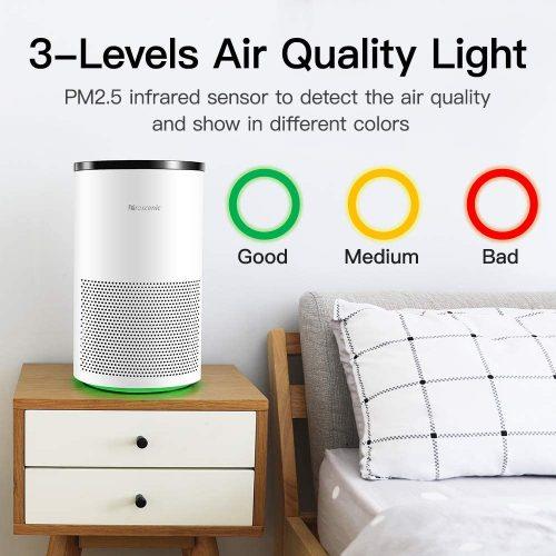 Proscénic A8 purificateur d'air intelligent pour la maison avec H13 HEPA filtre nettoyant Allergies et animaux fumeurs, moisissure, Pollen, poussière