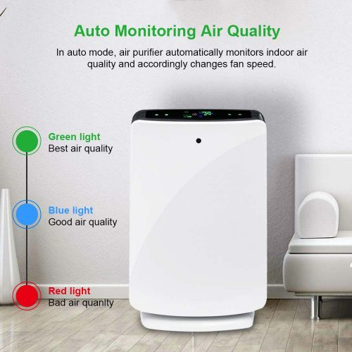 AUGIENB purificateur d'air de bureau à domicile véritable filtre HEPA suppression des Allergies aux odeurs pour fumée, poussière, cov, Pollen, squames pour animaux de compagnie, PM2.5